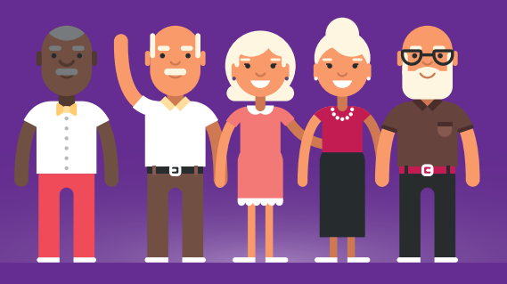 old people flat design